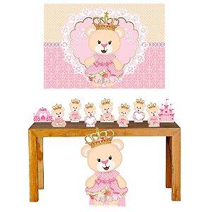 Super Kit Ursinha Princesa Decoração Totem Displays + Painel