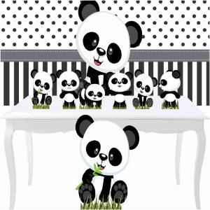 Combo Festa Bronze Aniversário Panda Baby Totem Painel