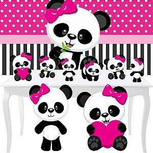 Combo Festa Diamante Panda Menina Painel Totem