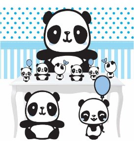 Combo Festa Diamante Panda Menino Azul Painel Totem