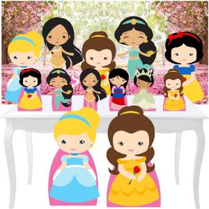 Combo Festa Diamante Princesas Cute Painel Totem Display