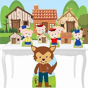 Combo Prata Tres Porquinhos Painel Totem Aniversário Festa