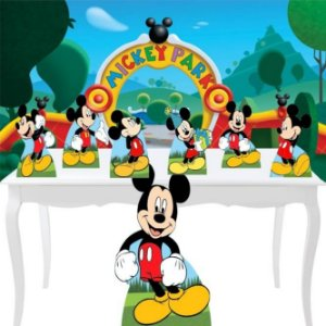 Combo Festa Prata Mickey Mouse Painel Totem Display Mdf