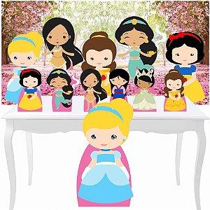 Combo Festa Prata Princesas Cute Painel Totem Display