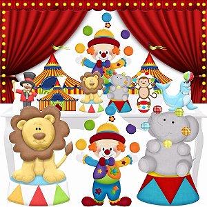 Combo Festa Ouro Circo Palhaço Totem Display Painel Mdf