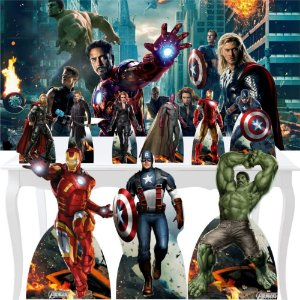 Combo Ouro Vingadores Painel Totem Display Festa