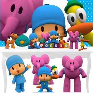 Combo Ouro Pocoyo Totem Display Painel Festa