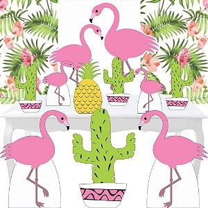 Combo Festa Ouro Painel Festa Flamingo Tropical Cacto