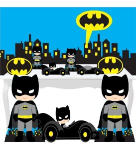 Combo Ouro Batman Cute Painel Totem Display Festa