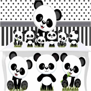 Combo Ouro Festa Aniversário Panda Baby Totem Painel