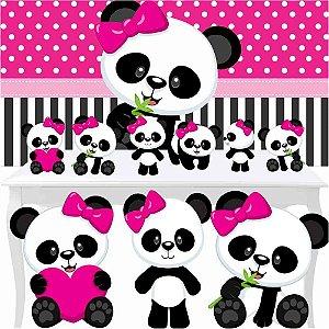 Combo Ouro Festa Aniversário Panda Menina Rosa Totem Painel
