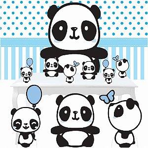 Combo Ouro Festa Aniversário Panda Menino Azul Totem Painel