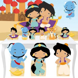 Combo Festa Ouro Aladdin Jasmine Cute Painel Totem Display
