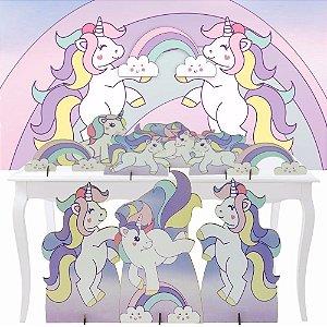 Combo Festa Premium Totem Painel Display Unicornio Nuvem