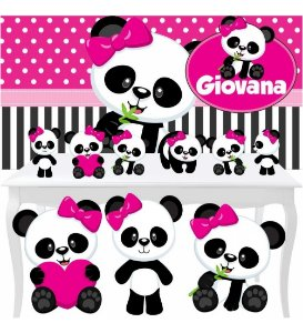 Kit Festa Combo Premium Panda Menina Totem Display Painel