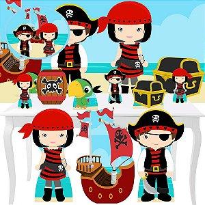 Combo Festa Premium Painel Totem Piratas Cute