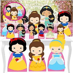 Combo Festa Premium Princesas Cute Painel Totem Display