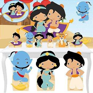 Combo Festa Premium Aladdin Jasmine Cute Painel Totem