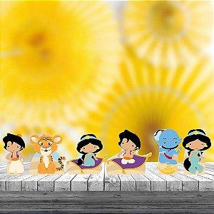 Kit 6 Display Mesa Aladdin Jasmine Cute Decoração Festa