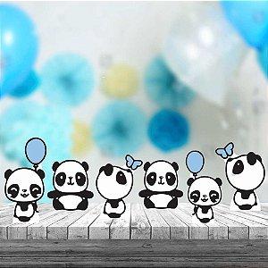 Kit 6 Display De Mesa Panda Menino Festa Aniversário