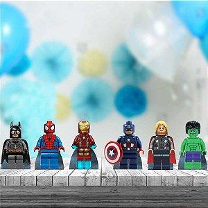 Kit 6 Totem Display Lego Herois Mdf Aniversário Festa