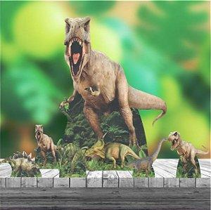 Kit 7 Peças Festa 1 Totem Chão + 6 Displays Dinossauro