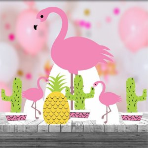 Kit 7 Totem Display Mdf Flamingo Festa Tropical