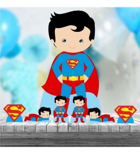 Kit 7 Superman Cute Totem Display Centro Mesa Chão