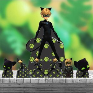 Kit 7 Cat Noir Ladybug Miraculous Totem Display Mdf