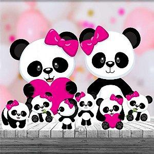 Kit 8 Totem Panda Menina Rosa Decoração Festa