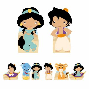 Kit 8 Totem Display Aladdin Jasmine Cute Festa Aniversário