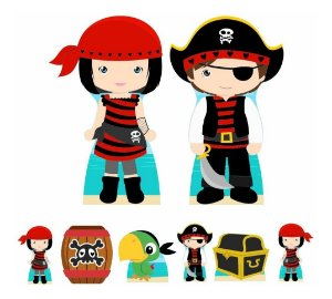Kit 8 Totem Display Piratas Cute Festa Aniversário