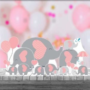 Kit 9 Elefantinho Rosa Totem Display Mdf Festa Aniversario