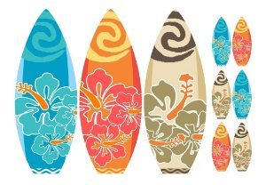 Kit 9 Totem Completo Mdf 3mm Prancha Moana Surfe Hawai