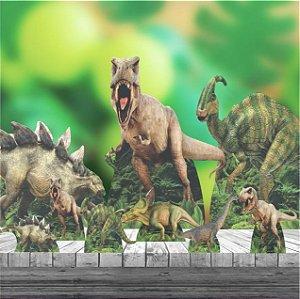 Kit 9 Festa Completo Dinossauro Totem Chão Mesa Display