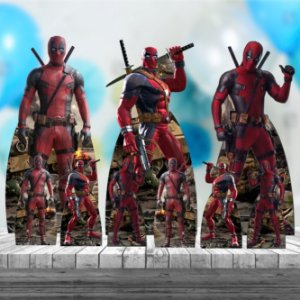 Kit 9 Deadpool Totem Display Centro Mesa Chão
