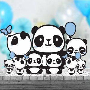 Kit 9 Panda Menino Cute Totem Display Mdf Aniversario
