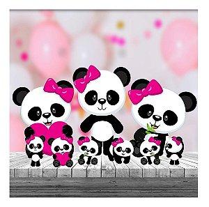 Kit9 Totem Festa Panda Menina Mdf Aniversario Decoração