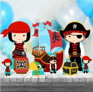 Kit 9 Totem Display Festa Decoração Piratas Cute Mdf