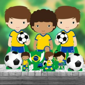 Kit 9 Futebol Brasil Totem Display Centro Mesa Chão