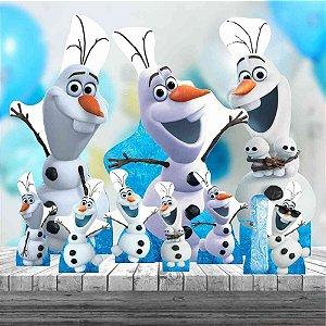 Kit 9 Totem Festa Olaf Frozen Display Decoração Mdf