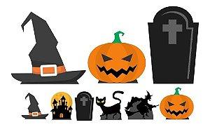 Kit 9 Totem Display Festa Completo Mdf Bruxa Halloween