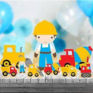 Kit 9totem Display Festa Decoração Construção Obras Mdf