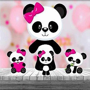 Kit 4 Totem Panda Menina Rosa Decoração Festa