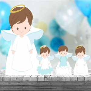 Kit 4 Totem Batizado Menino Decoração Festa