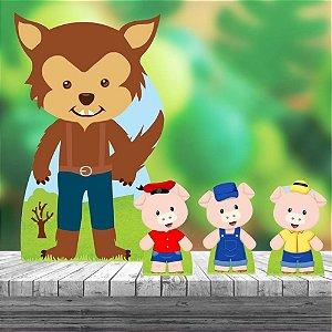 Kit 4 Totem Tres Porquinhos Aniversário Decoração Festa