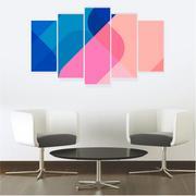 Quadro Mosaico Decoração Abstrato 5 Peças Mdf Mod 9