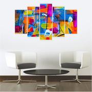 Quadro Mosaico Decoração Abstrato 5 Peças Mdf Mod 10