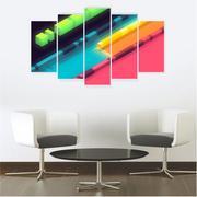 Quadro Mosaico Decoração Abstrato 5 Peças Mdf Mod 14