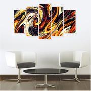 Quadro Mosaico Decoração Abstrato 5 Peças Mdf Mod 15